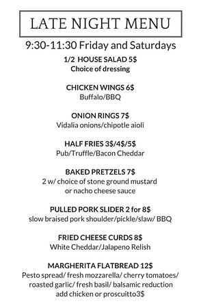 Occidental, CA: late night menu