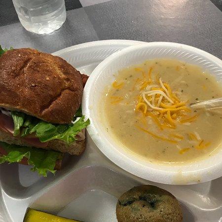 Plains, TX: Half club sandwich. Cup of potato soup