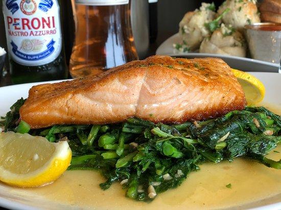 Levittown, NY: Wild Salmon Over Roasted Garlic Rabe