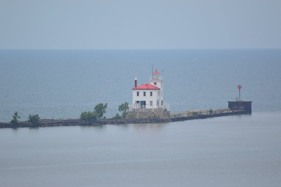 Fairport Harbor, OH: view of the breakwater light from the top of the tower