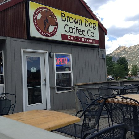 Brown Dog Coffee Company: Sign with new name, at least for us, and more outdoor seating