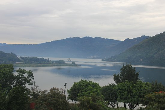San Lucas Toliman, Guatemala: View from the restaurant on the magnificent landscape or Atitlan lake in the early morning.