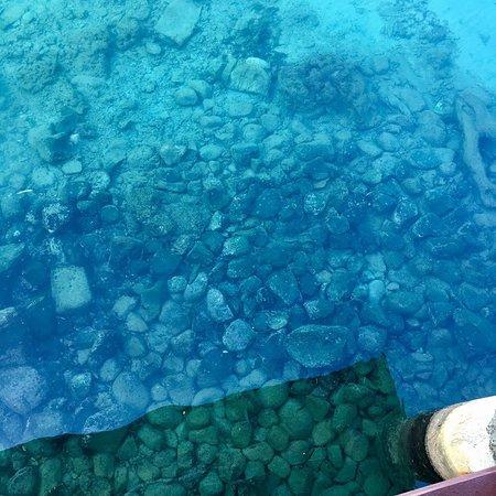 Mansinam Beach Resort: Air laut masih jernih. Dasar laut terlihat jelas.