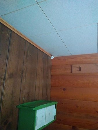 Lowman, ID: Tissue stuck in hole. Sanitary liner for bathing suit was stuck on doorway to bathroom in an obv