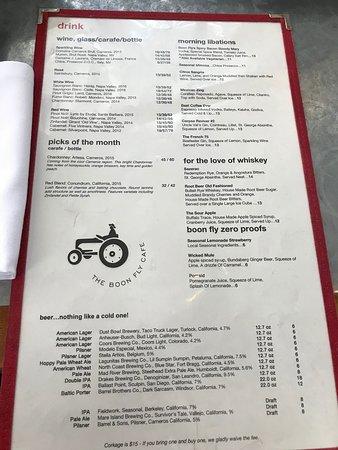 Drink menu at Boon Fly Cafe in Napa.