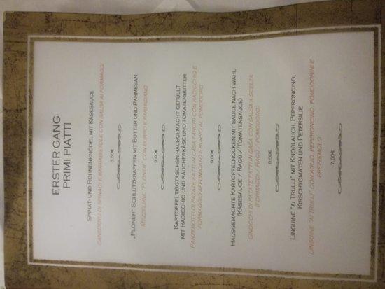 Rasun di Sopra, Italia: menu