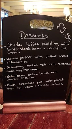 The Sun Inn Restaurant: The dessert menu