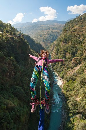 Tatopani, Nepal: Guest engaged in backflip bungy at The Last Resort