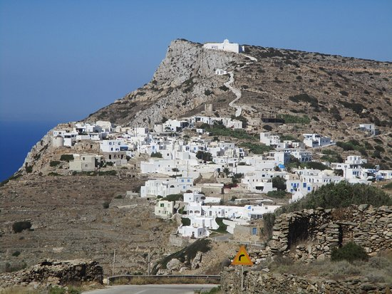 Sikinos, Greece: The path up to the monastery