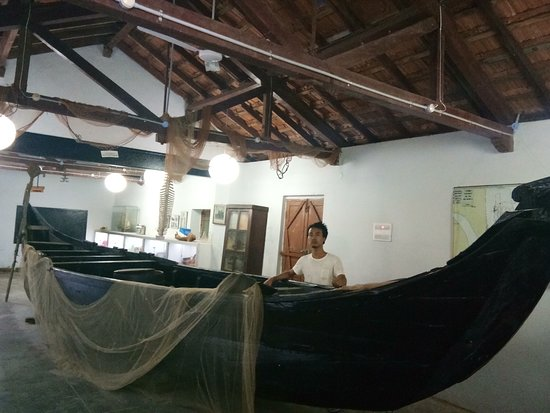 Tharangambadi, India: Fishing boat on display at Marine museum