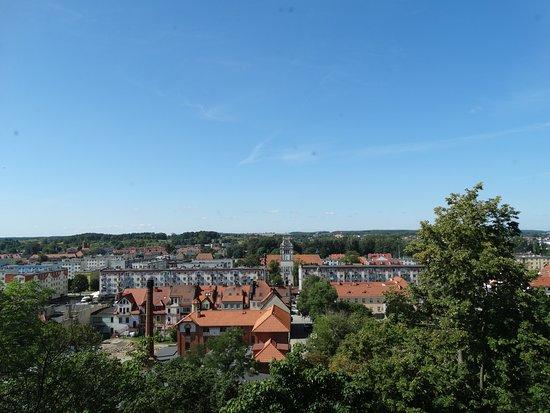 Widok z okna zamku na miasto Nidzica