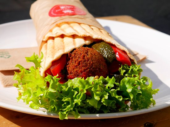 Veggie Bros: falafel wrap with fresh vegetables and homemade sauces