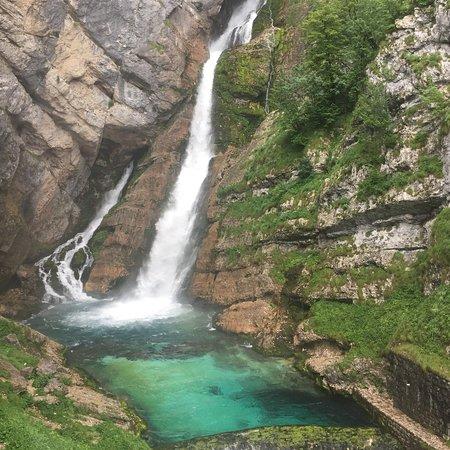 Waterfall Savica照片