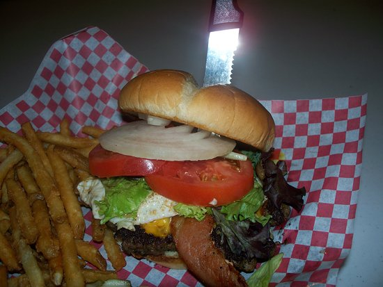 "Inwood, IA: Try our ""half pound"" 50/50 (Bacon/Ground Beef) Burger with Egg !!"