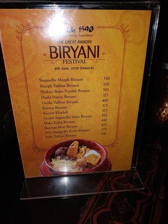 Oudh 1590: menu