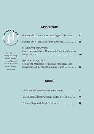 Hinge & Co Restaurant & Bar: Appetizers and Sides - Menu Winter 2018