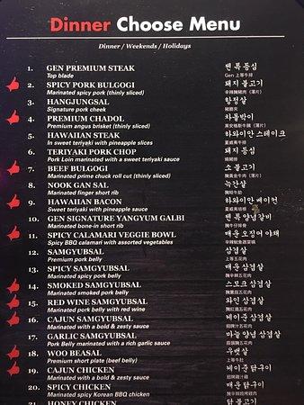 Gen Korean Bbq Menu >> Dinner Menu, Part 1 - Picture of Gen Korean BBQ, Carrollton - TripAdvisor