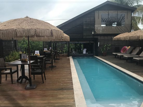 PUR Boutique Cabanas : View from the Cabanas to the Street (Bar/Restaurant is right off the road)