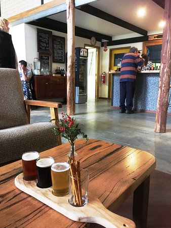 The tasting paddle at Mitta Mitta Brewing Company