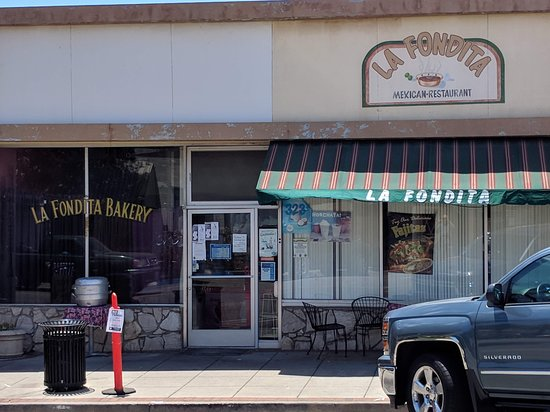 Fillmore, CA: View from across the street, showing bakery and restaurant