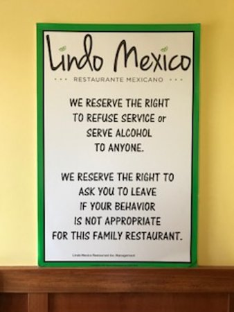 Wyoming, MI: An unusual added paragraph on this sign as one enters this restaurant.