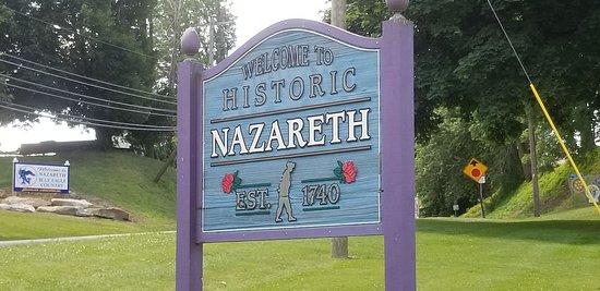 Nazareth Borough Park: Sign located at the road near park entrance.