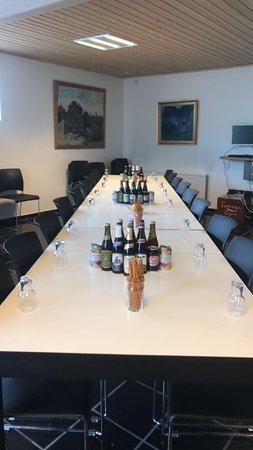 Klaksvik, Islas Feroe: Setup for beer tasting.