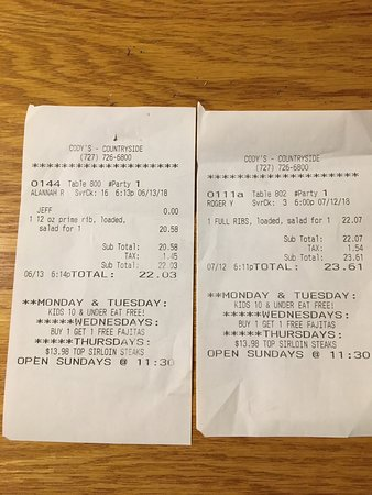 Cody's Original Roadhouse: Charged more than menu price TWICE!