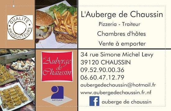 Auberge de Chaussin: carte visite