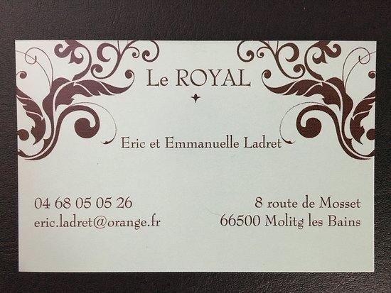 Le Royal Carte De Visite Du Restaurant