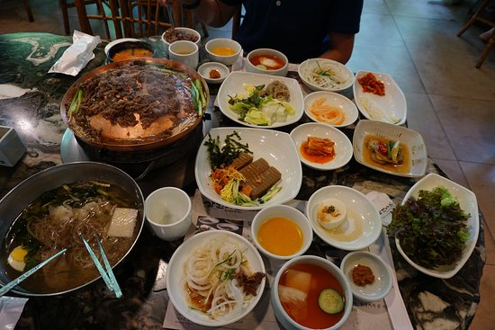 Samwon Garden Main Store: 2 servings of bulgogi with cold soba noodles, tofu soup, and side dishes