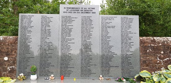 Lockerbie Garden of Remembrance: An overcast day in July 2018.