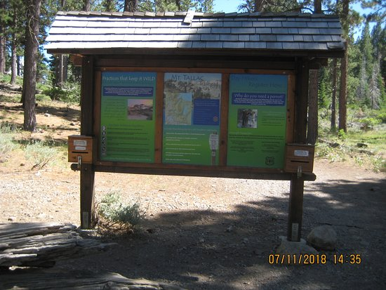 Mt. Tallac Trail: Trailhead Sign & wilderness permit location.