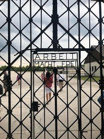 Dachau: The gate to the main entrance