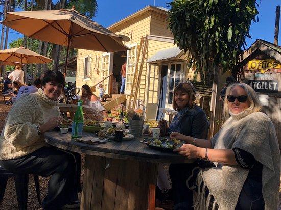 Federal, Australia: Outside dining in dappled winter light
