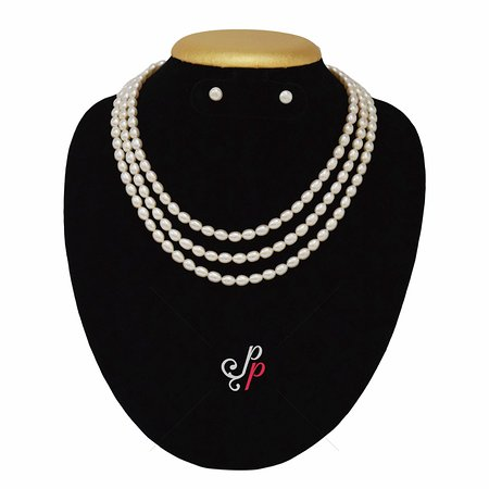 86614e4dddd5b5 Pure Pearls: 3 Lines oval pearl necklace in 5mm long oval shaped pearls