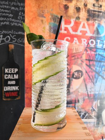 Macellaio RC Exmouth Market: Enjoy this refreshing Gin and Tonic with cucumber at the Spritzeria of Macellaio Exmouth Market.