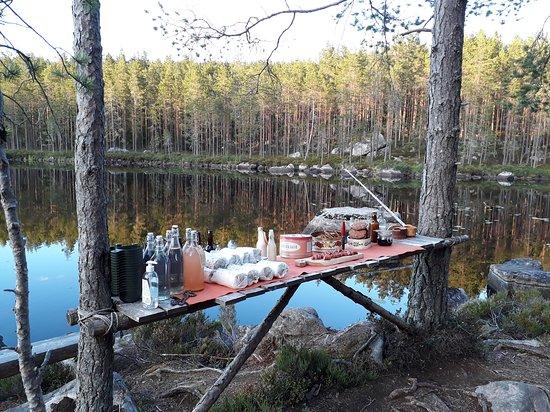 Skinnskatteberg, Sweden: Dinning at the lakeside