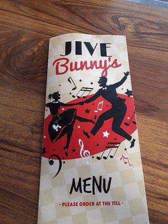 Jive Bunny Cafe: Menu cover