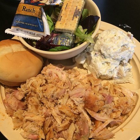 Whole Hog Cafe North Little Rock: Pulled chicken, potato salad and side salad with Paul Newman's creamy ranch dressing. Delicious!