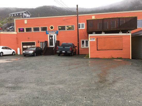 Portugal Cove, Canada: view of entrance from road. They will be building a patio on the end overlooking harbor