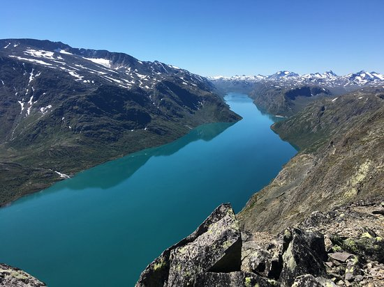 Vagamo, Norway: Cloudless view from 1+ km beyond the Veslefjell 1743 m high point, July 3, 1:30 PM