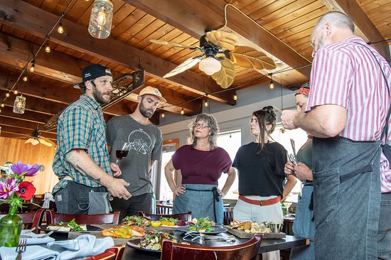 Wheeler, OR: Chef Mike Aldridge leading staff through the night's specials