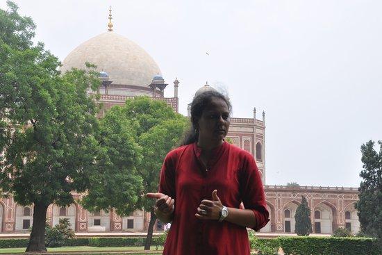 This is Jaya Basera at a Mughal emperor's tomb, Delhi, India