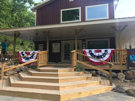 Eldon, Missouri: The Visitor Center all decked out for the 4th of July week.