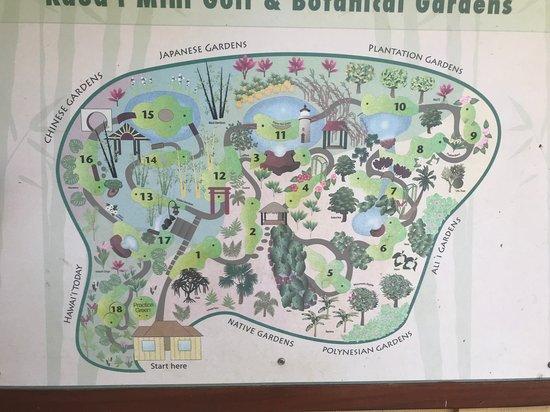 Course Map - Picture of Kauai Mini Golf & Botanical Gardens, Kilauea on kauai airports map, kauai activities map, kauai poipu shopping, kauai beaches map, kauai golf rates, kauai tour maps, kauai bike path map, kauai botanical gardens map, kauai lakes map, kauai poipu bay golf course, kauai road map, kauai trails map, marriott kauai beach club map, kauai weather map, kauai hunting map, kauai attractions map locations, kauai snorkeling map, myrtle beach golf course map, kauai points of interest map, kauai camping map,