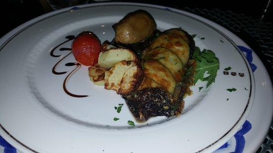 Palace Catania   UNA Esperienze : Sea Bass with red chicory, zucchini and Parmesan.