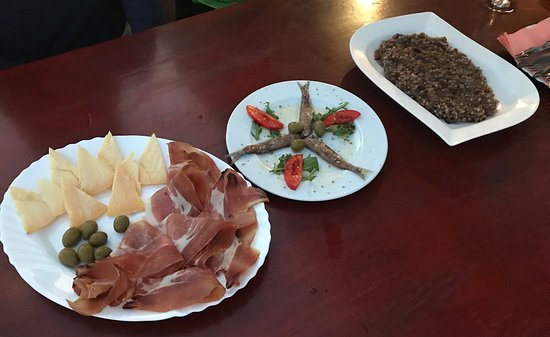 Ivan Dolac, Croatia: Light dinner - squid risotto, salty fish, prosciutto, & cheese
