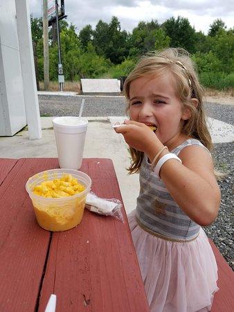 Stony Creek, VA: My daughter enjoying the mac-n-cheese