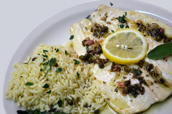 Italia Ristorante: Roasted Rainbow Trout with sage butter sauce